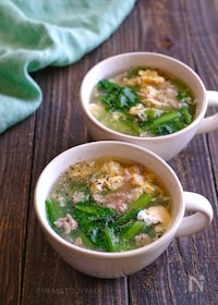 『小松菜とひき肉のかきたまスープ』