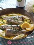 秋刀魚とネギのパエリア
