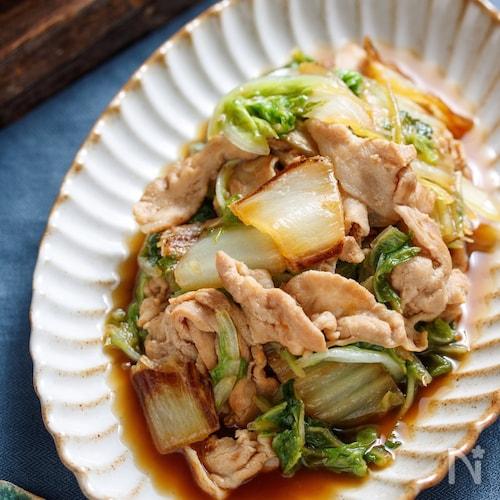 豚バラと焼き白菜の生姜じょうゆ蒸し【#作り置き #包丁不要】