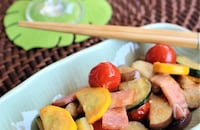 夏野菜とベーコンのマヨ味噌炒め