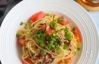 超簡単茹でたら混ぜるだけ!トマトとツナの和風パスタ
