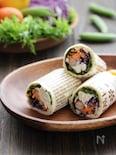 彩り野菜とチキンのラップサンド