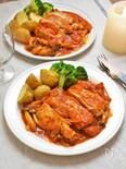 鶏肉としめじのトマト煮込み☆フライパンで時短コク旨!