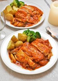 『鶏肉としめじのトマト煮込み☆フライパンで時短コク旨!』