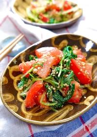 『ガッツリおかずのお供に♡『水菜とトマトの胡麻酢和え』』