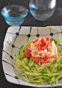 『【レンジで簡単!サラダチキンレシピ】鶏ささ身の梅きゅうり和え』