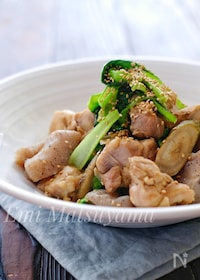 『*鶏肉とこんにゃくと新ごぼうと小松菜の白だし炒め*』