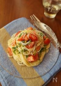 『大葉が爽やか!トマトとシラスの冷製パスタ』