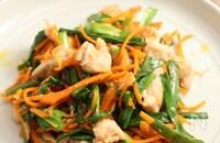 鶏とニラと人参の姜葱醤炒め