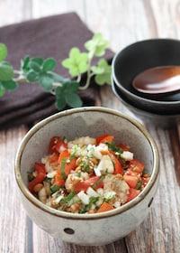 『簡単でさっぱり美味しい♡納豆と新玉ねぎとトマトのごま大葉和え』