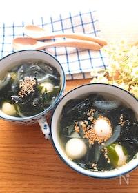 『簡単・子供も喜ぶ♡うずらの卵入り新玉ねぎとわかめのスープ』