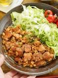 蓮根ソースが絶品!レタスと鶏照りのハーフ&ハーフ