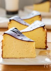 『焼き芋で簡単混ぜるだけ♡さつまいものバスクチーズケーキ』