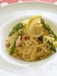 冷凍麺で簡単!サーモンとグリーンアスパラの豆乳パスタ