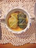 トマトクリームスープで食べるタカキビロールキャベツ