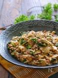 餃子の皮入りひき肉とニラとえのきのさっぱりスタミナとろみ煮