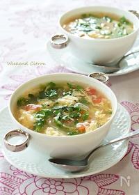 『豆苗とトマトの夏スープ』