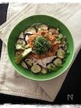 茄子と冷しゃぶの甘辛キムチ素麺