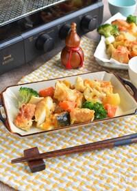 『たっぷり焼ける!根菜と厚揚げの七味味噌チーズグリル』