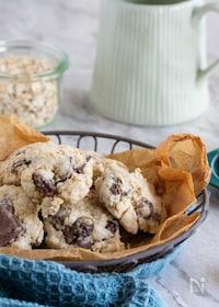 『袋1つ!食感が楽しいオートミールとチョコのごつごつクッキー♪』