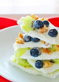 『【簡単デザート】キウイとブルーベリーのヨーグルトバーク』