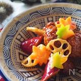 ご飯がススム!肉だんごと秋野菜の黒酢炒め