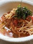 シソ生姜醤油でトマトとアンチョビの冷製パスタ