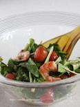 ほろ苦ルッコラと海老のトマトサラダ
