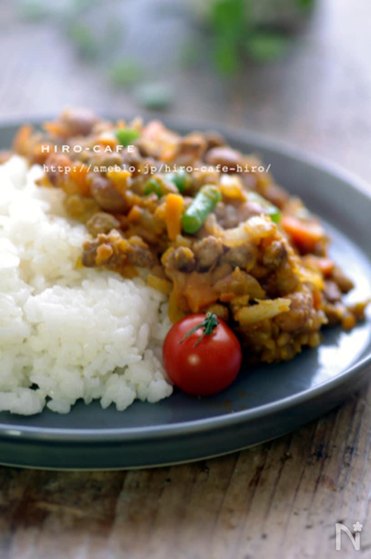大豆と挽肉のドライカレー