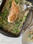 1つのフライパンで菜の花リゾットと鶏肉ハーブグリル