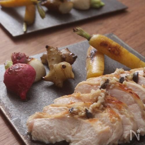 鶏肉と野菜グリルアンチョビソース