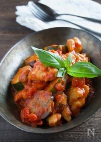 『夏野菜たっぷり!なすと鶏肉のトマト煮』