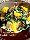 お野菜たっぷりパスタ♪ルッコラ&プッチーニ&丸茄子