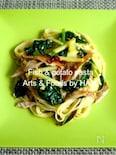 秋刀魚とじゃがいもと小松菜でレモンペペロンチーノ