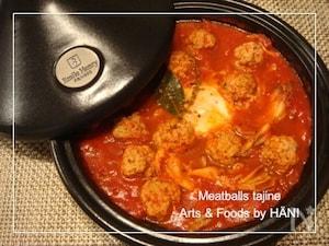 タジン鍋レシピ♪ハーブ豚のミートボールのトマト煮込み