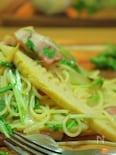 筍と厚切りベーコンとしゃきしゃき水菜のパスタ