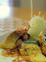 鯖の唐揚げ〜じゅわっと葱油&胡麻酢がけ