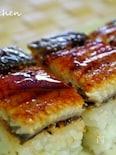 角皿で!簡単♪鰻の押し寿司