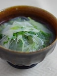 水菜とネギの食べる春雨スープ