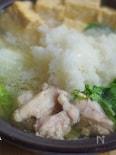鶏肉とルッコラのみぞれ鍋