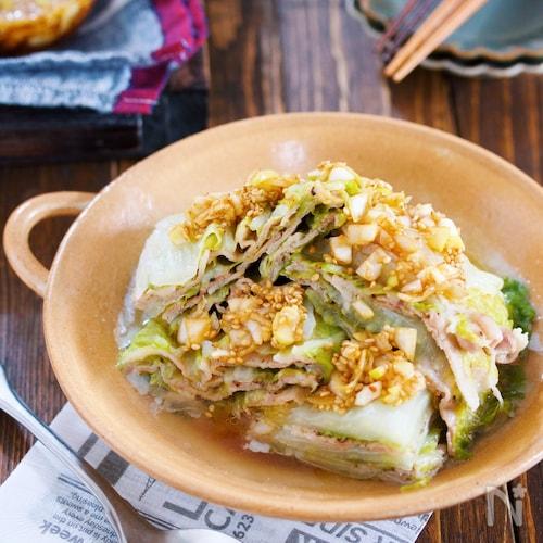 レンジで8分♪『豚バラと白菜の重ね蒸し*ネギだく中華だれ』