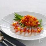 パプリカマリネと白身魚のカルパッチョ