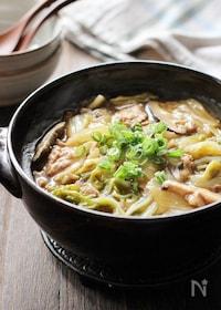 『豚肉と白菜と干し椎茸のあんかけ土鍋ご飯』