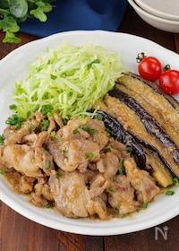 『【ご飯に乗せたい】豚こま肉とトロトロ茄子の田舎風ごま味噌炒め』