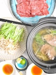 牛蒡と水菜の牛しゃぶ鍋
