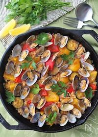 『サフラン不要!夏野菜とアサリのパエリア』