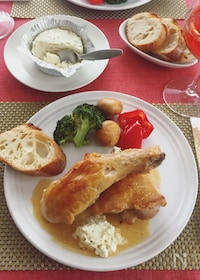 『鶏もも肉のビネガー煮、ブルサン ガーリック&ハーブ添え』
