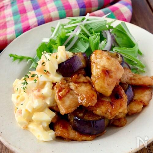 鶏むね肉と茄子のチキン南蛮風