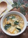 包丁不要&レンジで!5分で完成。ふんわり卵とキムチのスープ