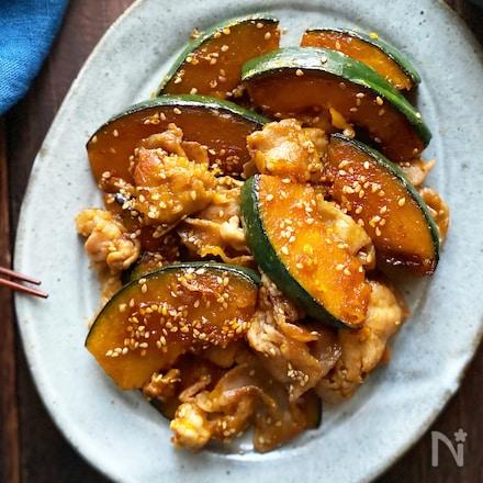 甘辛がご飯に合う!かぼちゃと豚肉のごま照り焼き